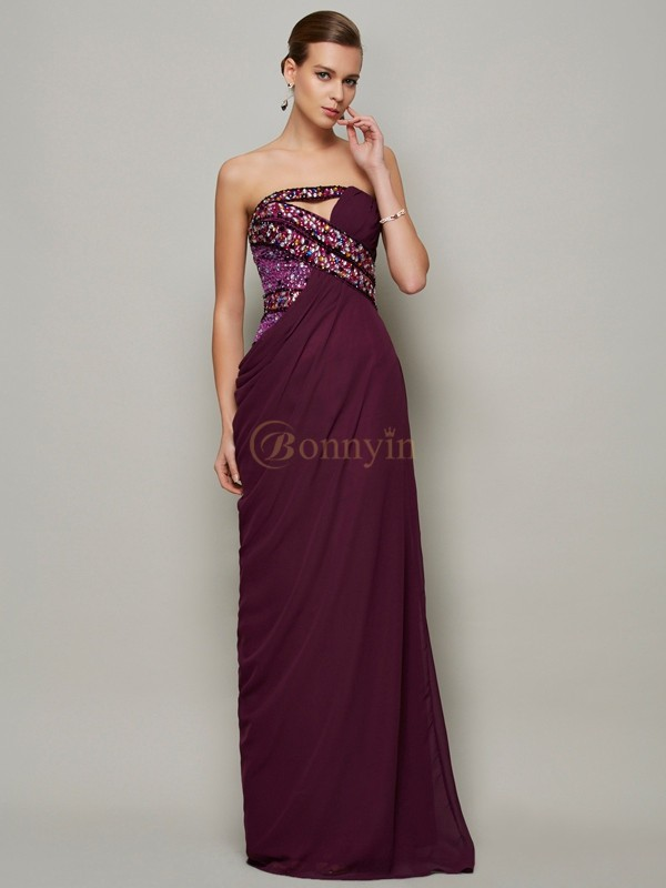 Grape Chiffon Strapless A-Line/Princess Floor-Length Dresses