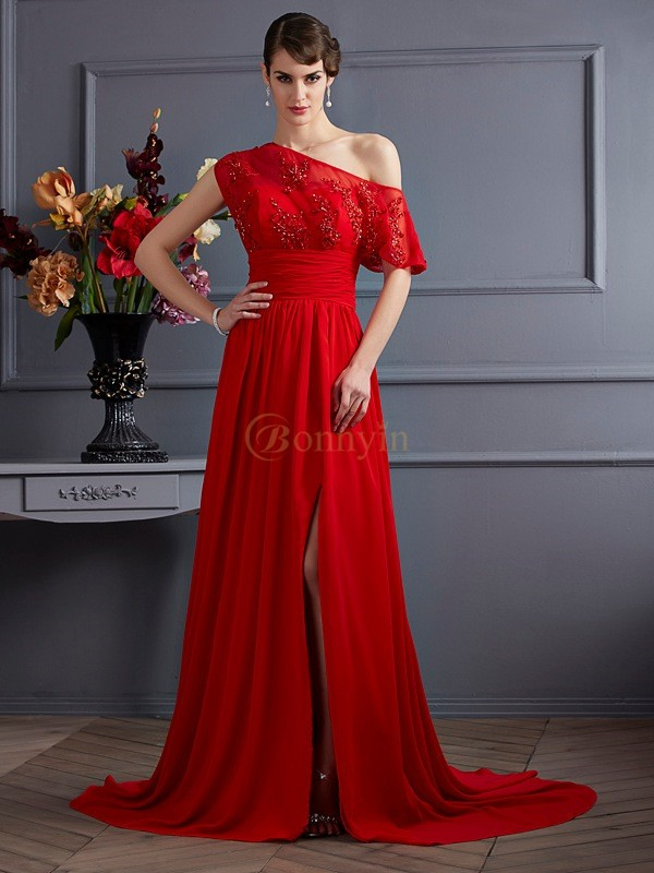 Red Chiffon One-Shoulder A-Line/Princess Court Train Dresses