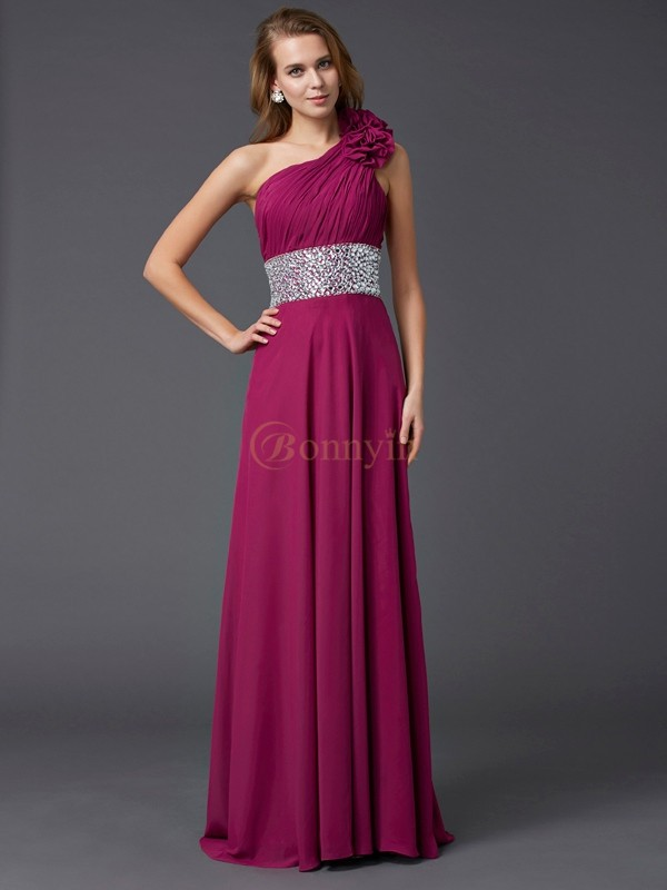 Burgundy Chiffon One-Shoulder A-Line/Princess Sweep/Brush Train Dresses