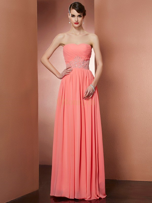 Watermelon Chiffon Strapless A-Line/Princess Floor-Length Dresses