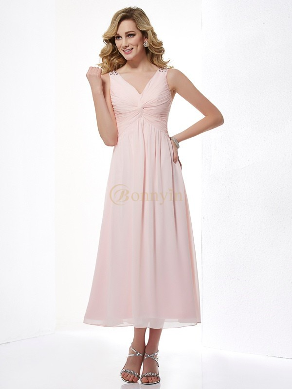 Pink Chiffon V-neck A-Line/Princess Tea-Length Dresses