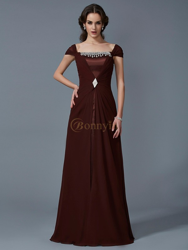 Chocolate Chiffon Taffeta Strapless A-Line/Princess Floor-Length Dresses