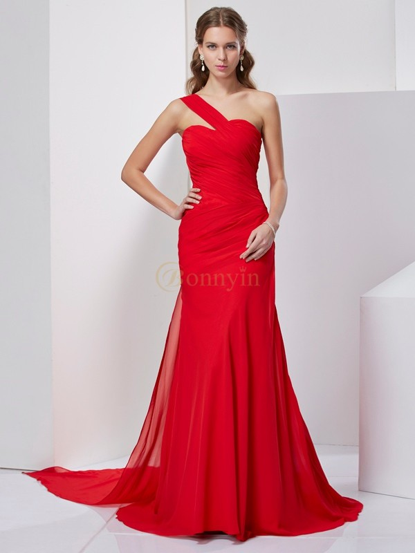 Red Chiffon One-Shoulder A-Line/Princess Sweep/Brush Train Dresses