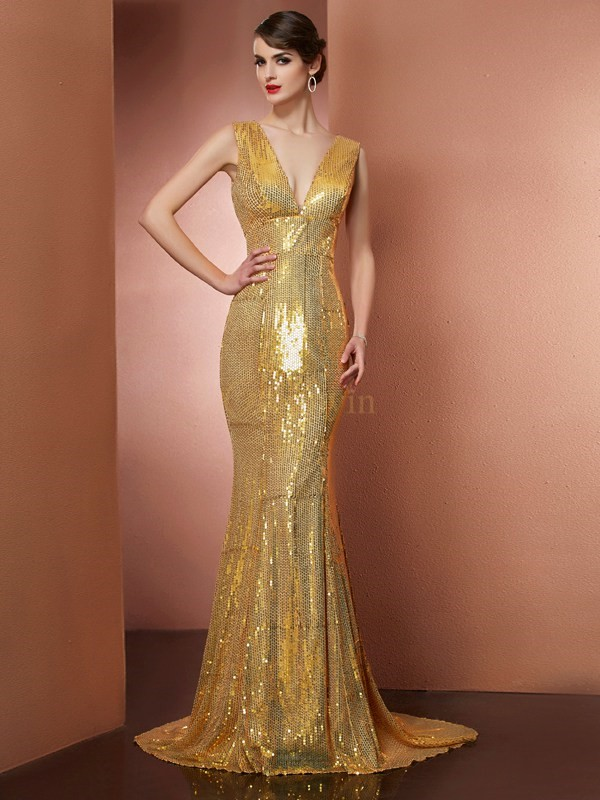 Gold Satin V-neck A-Line/Princess Chapel Train Dresses
