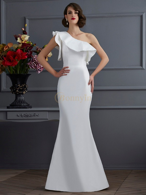 Ivory Taffeta One-Shoulder Trumpet/Mermaid Floor-Length Dresses