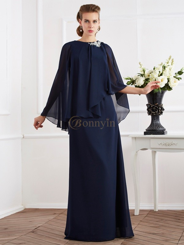 Royal Blue Chiffon High Neck A-Line/Princess Floor-Length Mother of the Bride Dresses