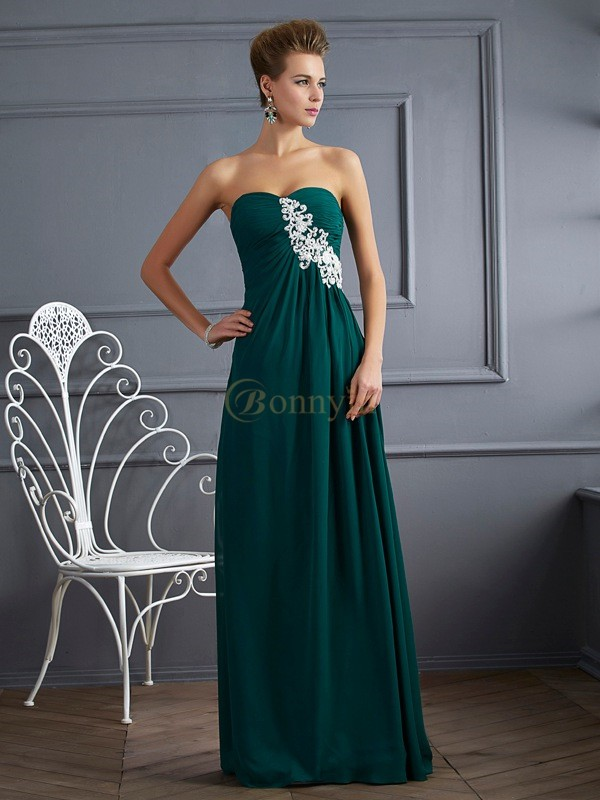 Hunter Green Chiffon Sweetheart Sheath/Column Floor-Length Dresses