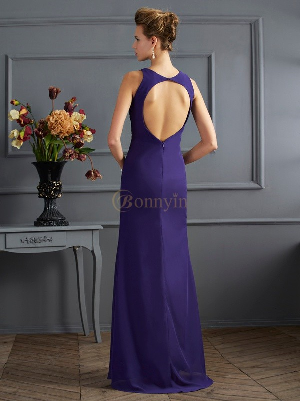Grape Chiffon Bateau Sheath/Column Floor-Length Dresses