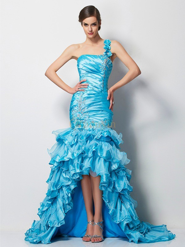 Blue Taffeta One-Shoulder Trumpet/Mermaid Asymmetrical Dresses