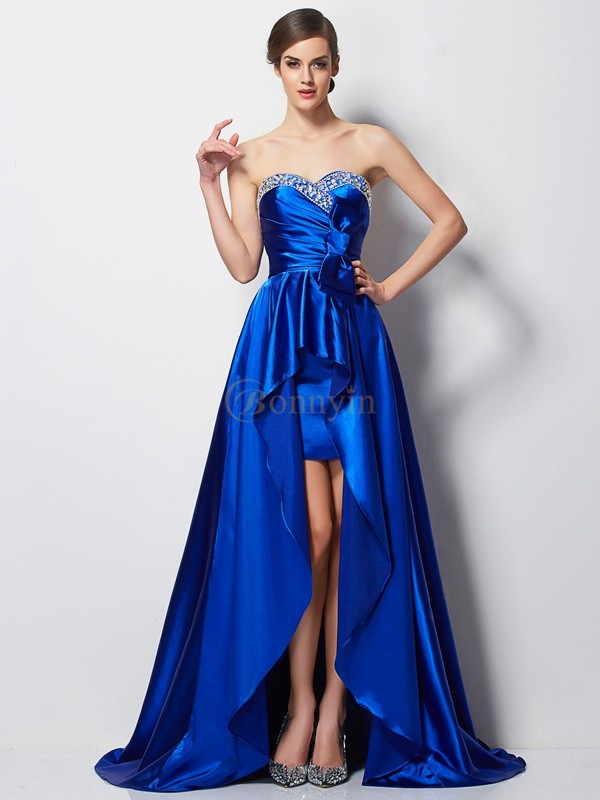 Royal Blue Elastic Woven Satin Sweetheart A-Line/Princess Asymmetrical Dresses