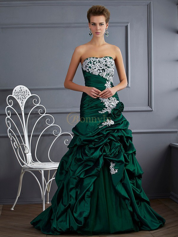 Dark Green Taffeta Strapless Ball Gown Sweep/Brush Train Dresses