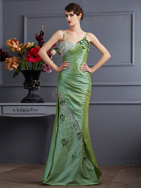 Green Taffeta Spaghetti Straps Trumpet/Mermaid Floor-Length Dresses
