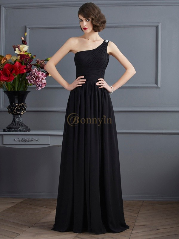 Black Chiffon One-Shoulder A-Line/Princess Floor-Length Dresses