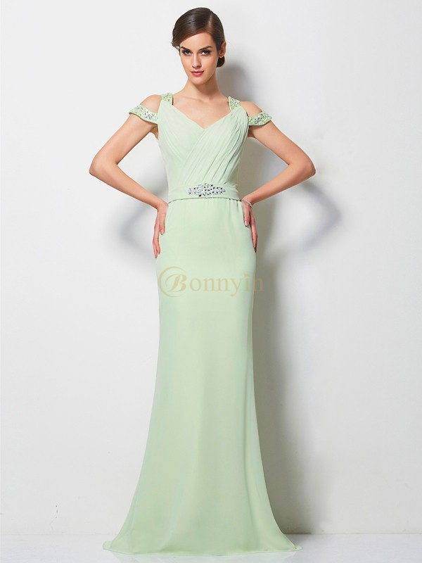 Sage Chiffon V-neck A-Line/Princess Sweep/Brush Train Dresses