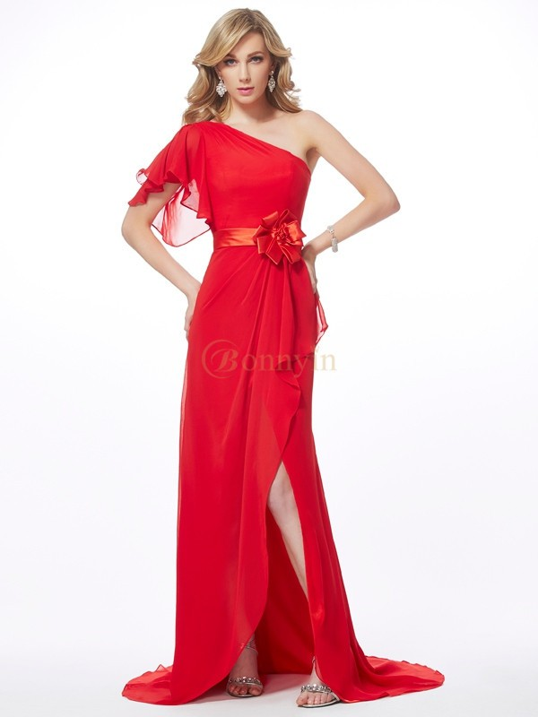 Red Chiffon One-Shoulder Trumpet/Mermaid Sweep/Brush Train Dresses