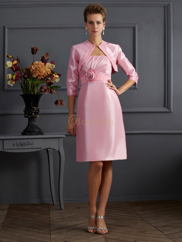 Pink Taffeta Strapless Sheath/Column Knee-Length Dresses