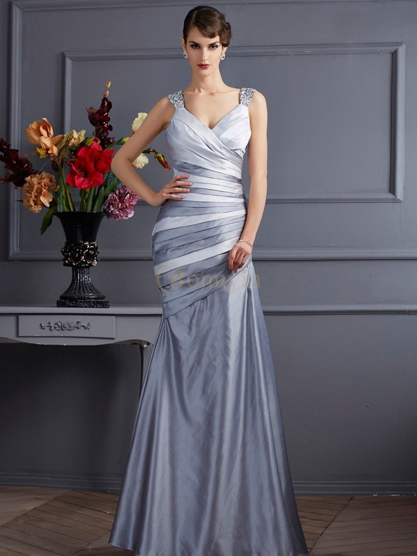 Silver Satin Straps Trumpet/Mermaid Floor-Length Dresses
