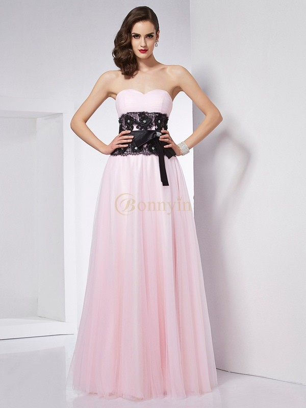Pink Net Satin Sweetheart A-Line/Princess Floor-Length Dresses