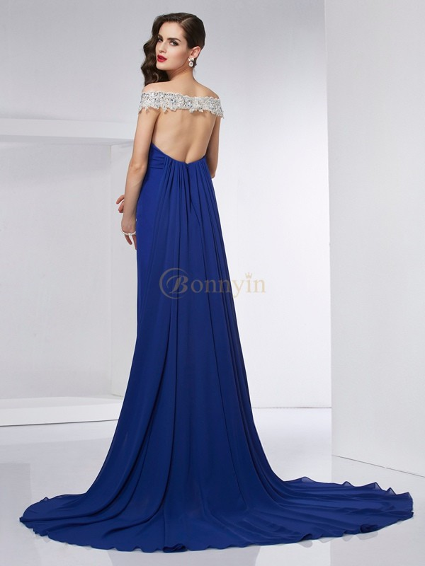 Royal Blue Chiffon Off the Shoulder Trumpet/Mermaid Floor-Length Dresses