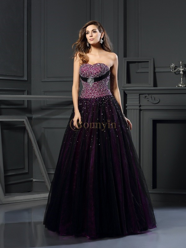 Grape Satin Sweetheart Ball Gown Floor-Length Prom Dresses