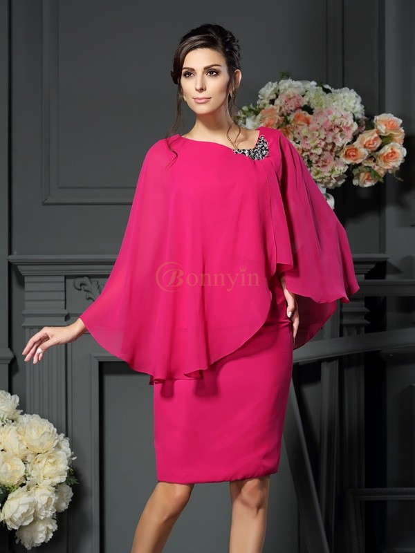 Fuchsia Chiffon Scoop Sheath/Column Knee-Length Mother of the Bride Dresses