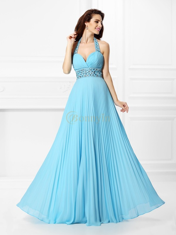 Light Sky Blue Chiffon Halter A-Line/Princess Floor-Length Prom Dresses