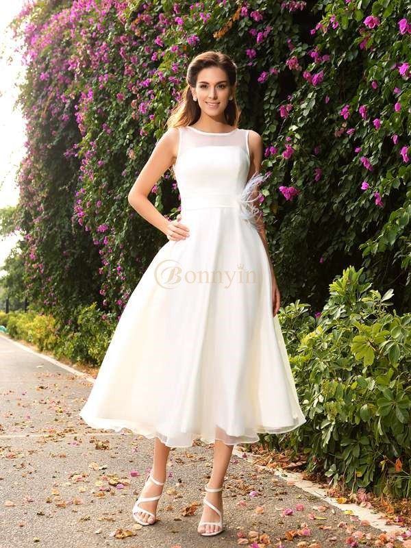 Ivory Satin Bateau A-Line/Princess Ankle-Length Wedding Dresses