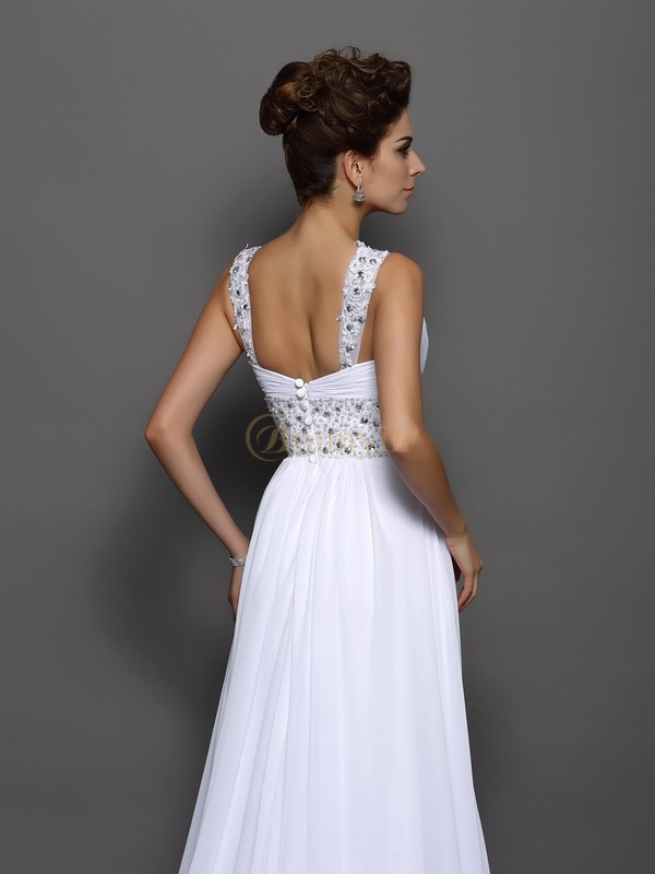 White Chiffon Straps A-Line/Princess Court Train Wedding Dresses