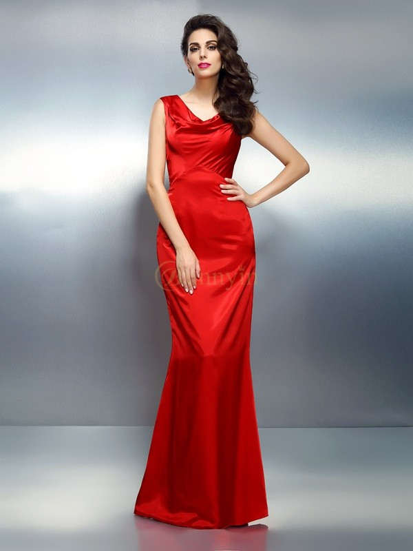 Red Silk like Satin V-neck Trumpet/Mermaid Floor-Length Dresses