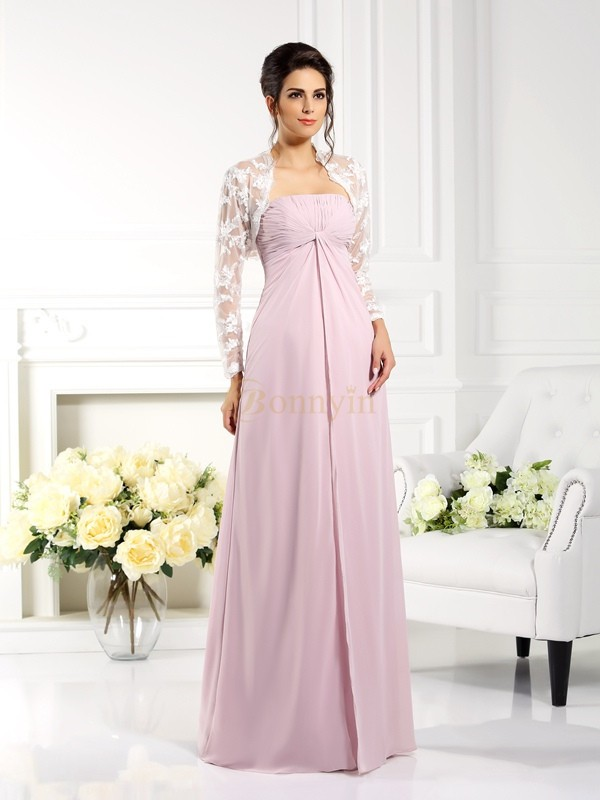 Pink Chiffon Strapless A-Line/Princess Floor-Length Mother of the Bride Dresses