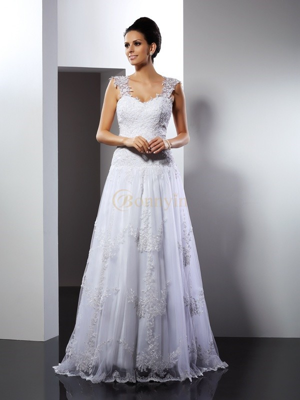 White Lace Straps A-Line/Princess Court Train Wedding Dresses