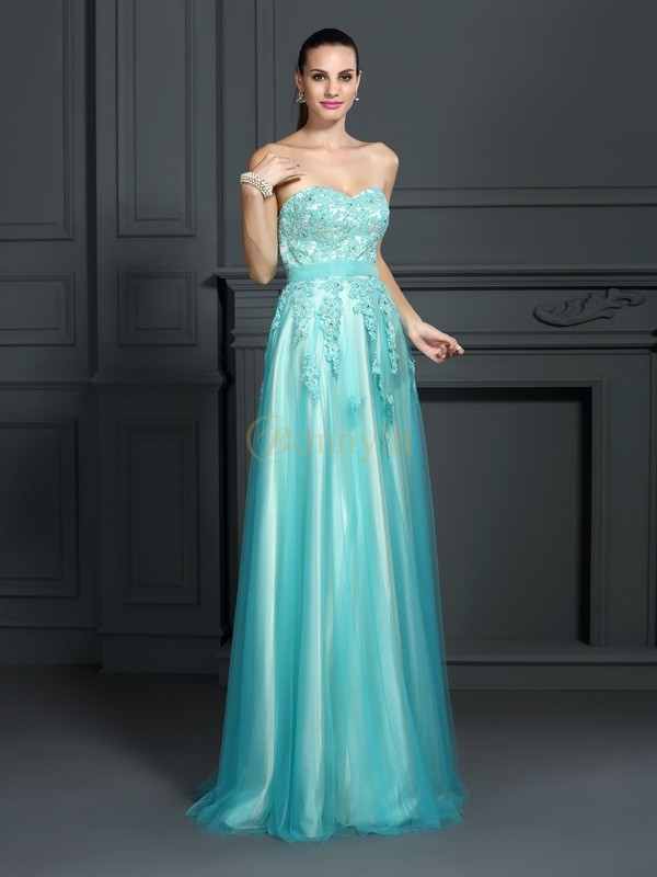 Sage Elastic Woven Satin Sweetheart A-Line/Princess Floor-Length Dresses