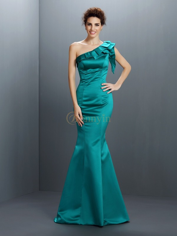 Hunter Green Satin One-Shoulder Trumpet/Mermaid Floor-Length Evening Dresses