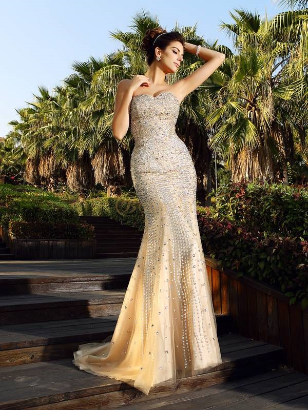 Champagne Satin Sweetheart Trumpet/Mermaid Court Train Dresses