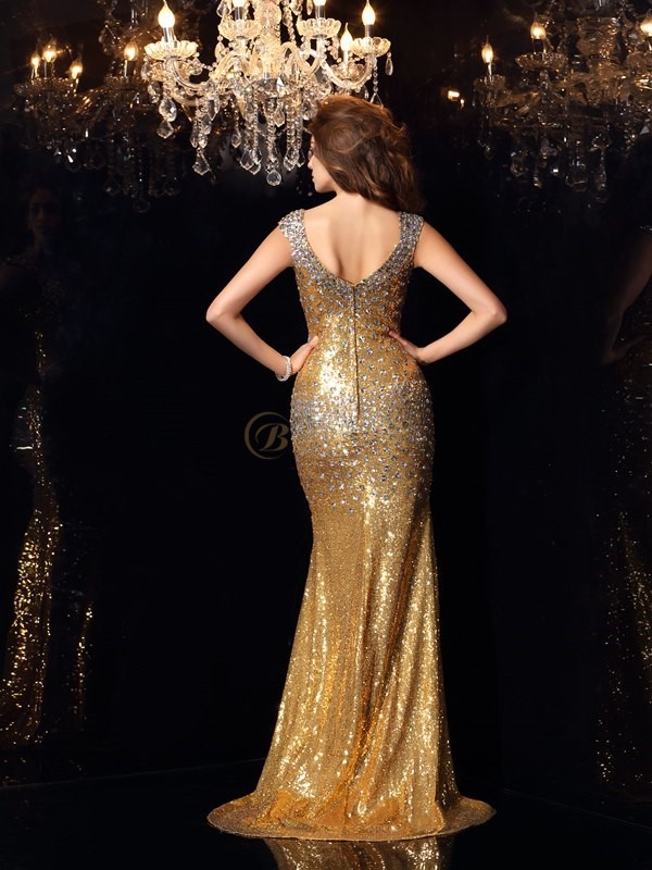 Gold Sequins Straps Trumpet/Mermaid Floor-Length Dresses