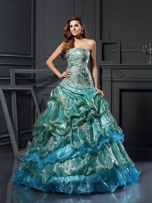 Dark Green Tulle Sweetheart Ball Gown Floor-Length Prom Dresses
