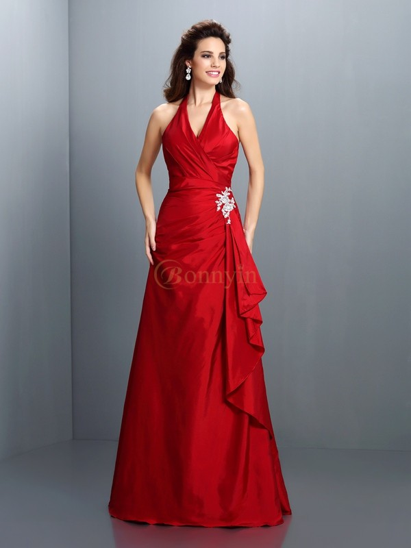 Red Taffeta Halter A-Line/Princess Floor-Length Dresses