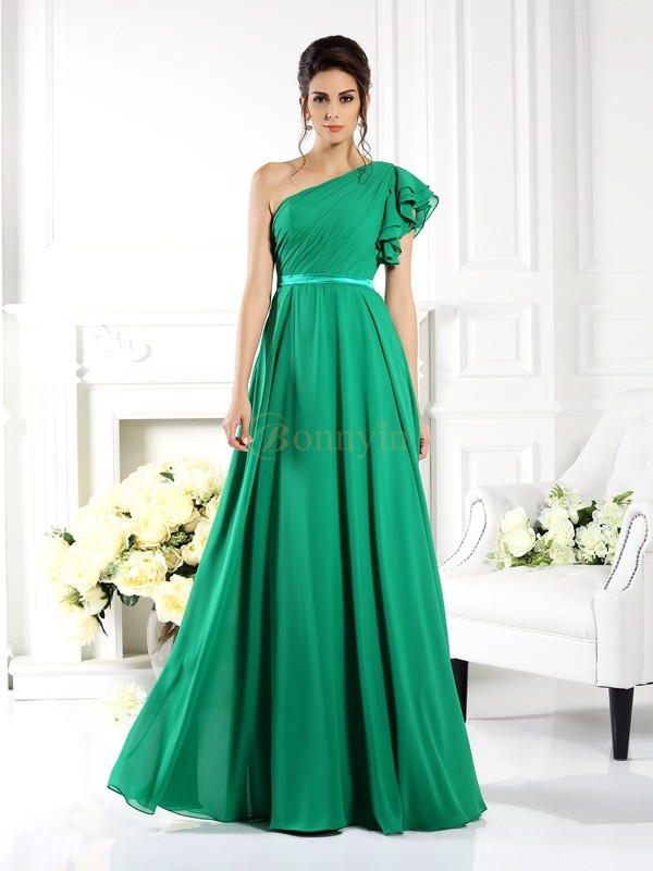 Hunter Green Chiffon One-Shoulder A-Line/Princess Floor-Length Bridesmaid Dresses