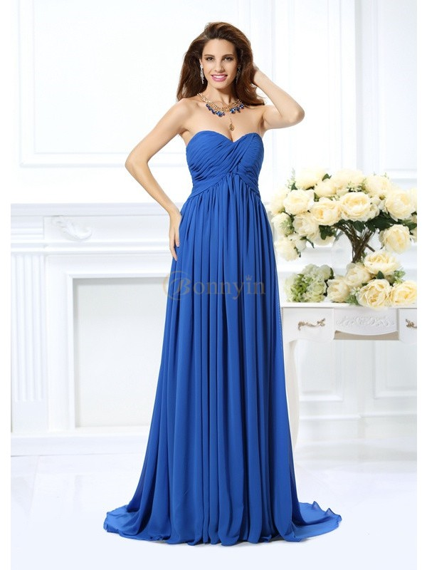 Royal Blue Chiffon Sweetheart A-Line/Princess Chapel Train Prom Dresses