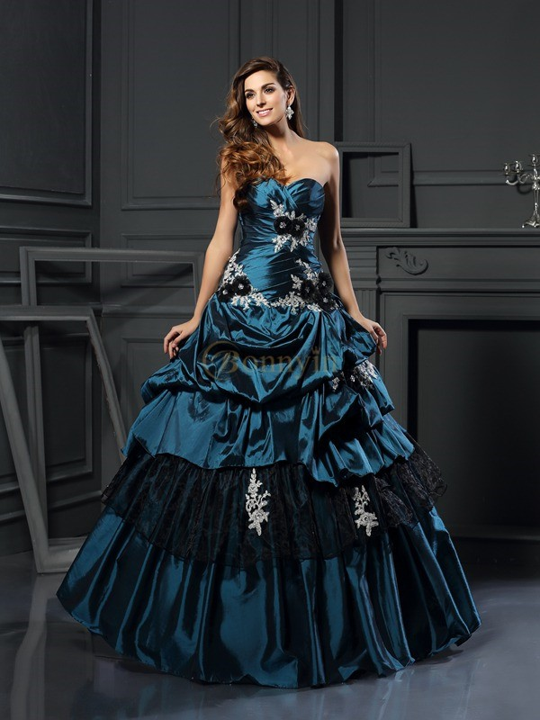 Dark Green Taffeta Sweetheart Ball Gown Floor-Length Prom Dresses