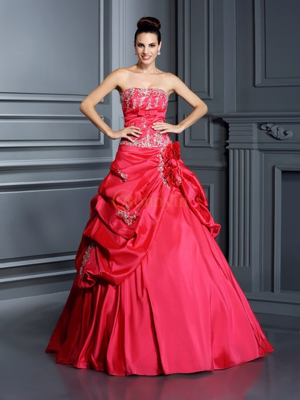 Red Taffeta Strapless Ball Gown Floor-Length Prom Dresses