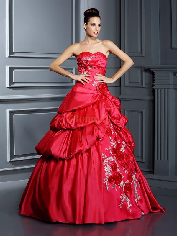 Red Taffeta Sweetheart Ball Gown Floor-Length Prom Dresses