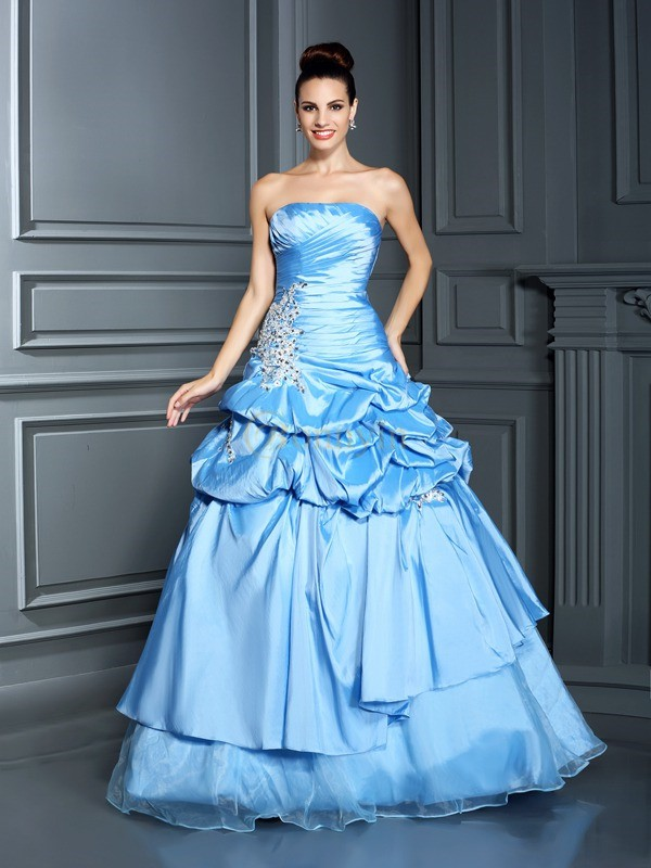 Royal Blue Organza Sweetheart Ball Gown Floor-Length Prom Dresses
