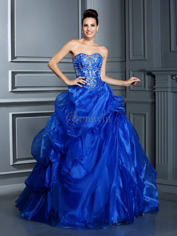 Royal Blue Satin Sweetheart Ball Gown Floor-Length Prom Dresses