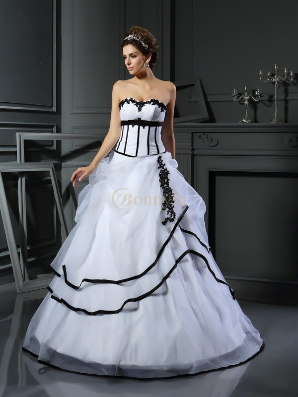 White Satin Sweetheart Ball Gown Floor-Length Wedding Dresses