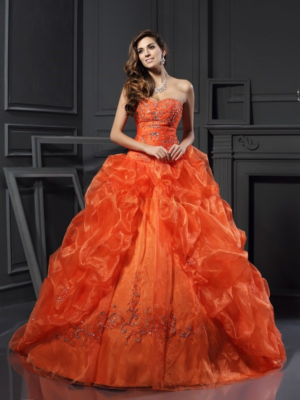 Orange Organza Sweetheart Ball Gown Court Train Prom Dresses