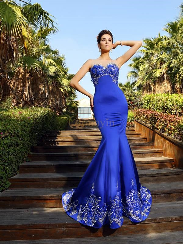 Royal Blue Satin Sweetheart Trumpet/Mermaid Court Train Dresses
