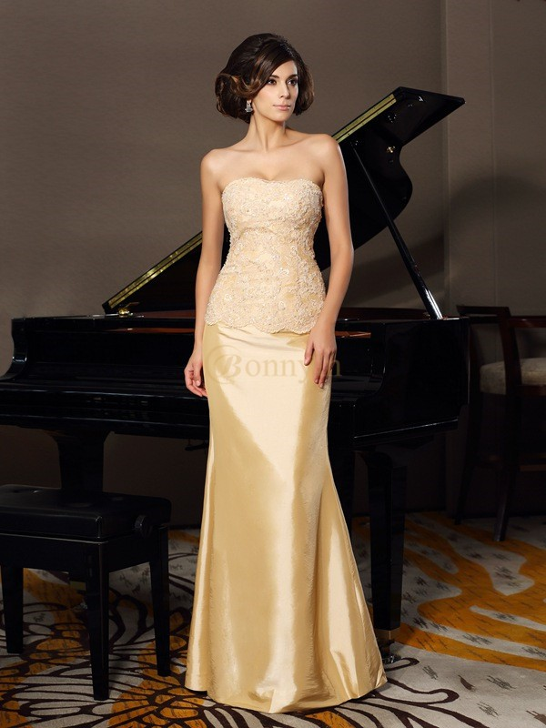 Champagne Taffeta Sweetheart Trumpet/Mermaid Floor-Length Mother of the Bride Dresses