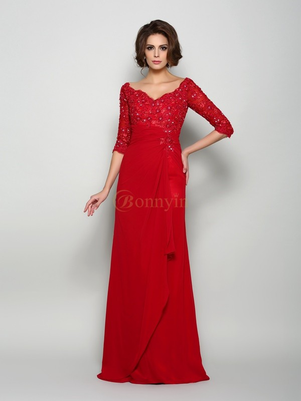 Red Chiffon V-neck A-Line/Princess Sweep/Brush Train Mother of the Bride Dresses