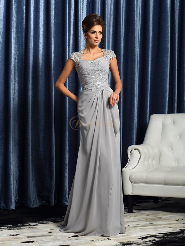 Silver Chiffon Sweetheart Sheath/Column Sweep/Brush Train Mother of the Bride Dresses